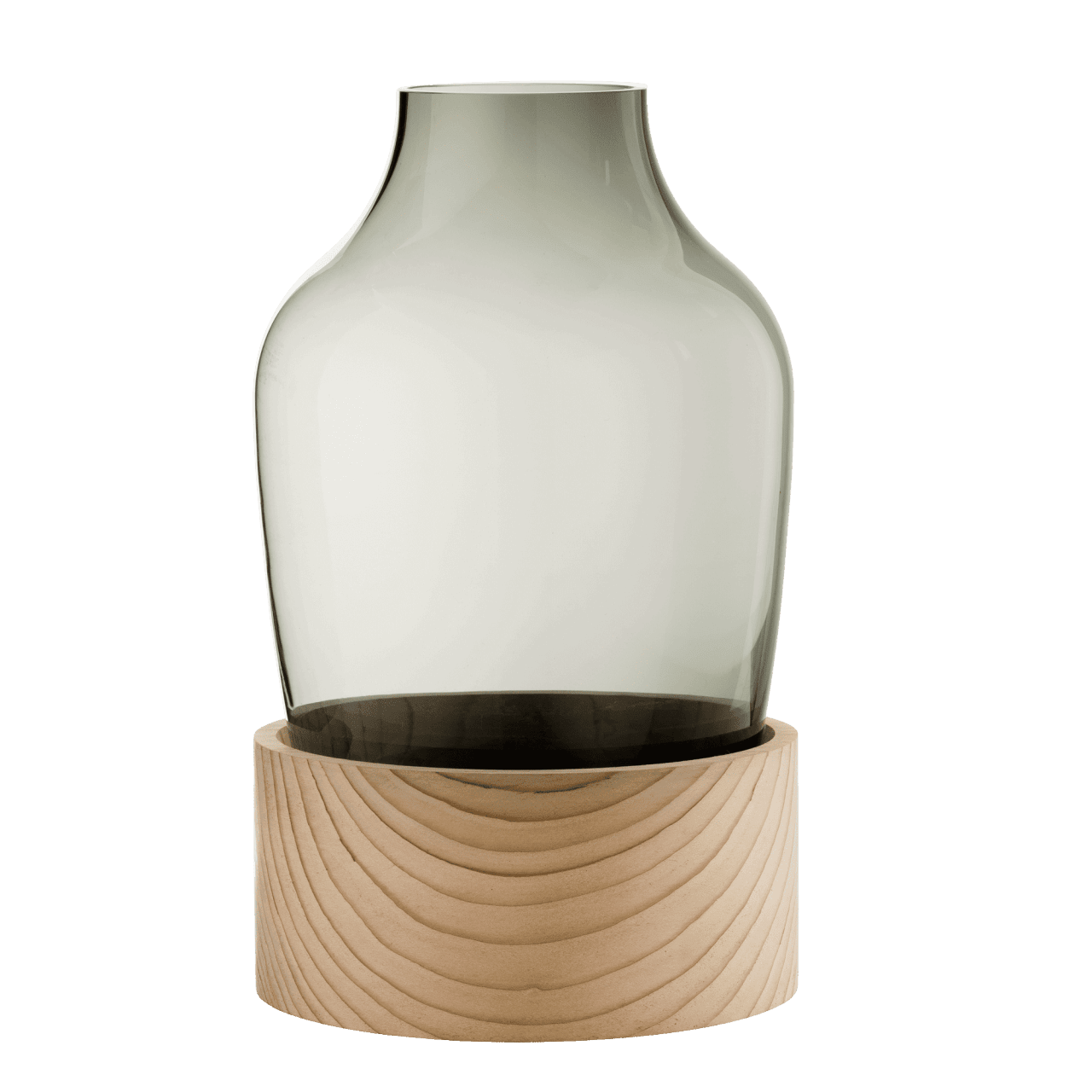 Glasvase auf Holzsockel