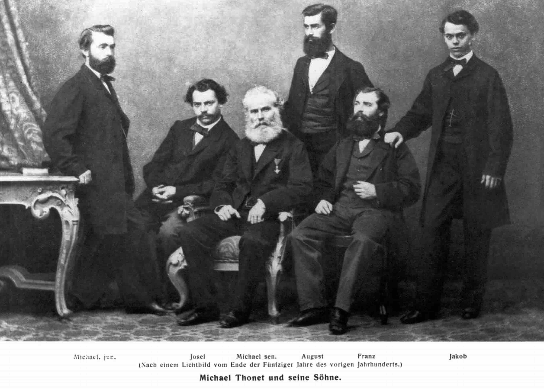 Michael Thonet mit seinen Söhnen