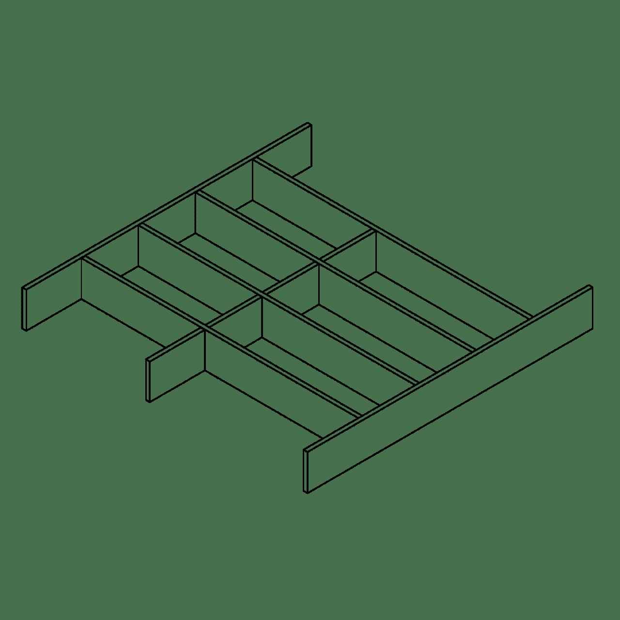 Besteckeinsatz für Systemtiefe 65 cm