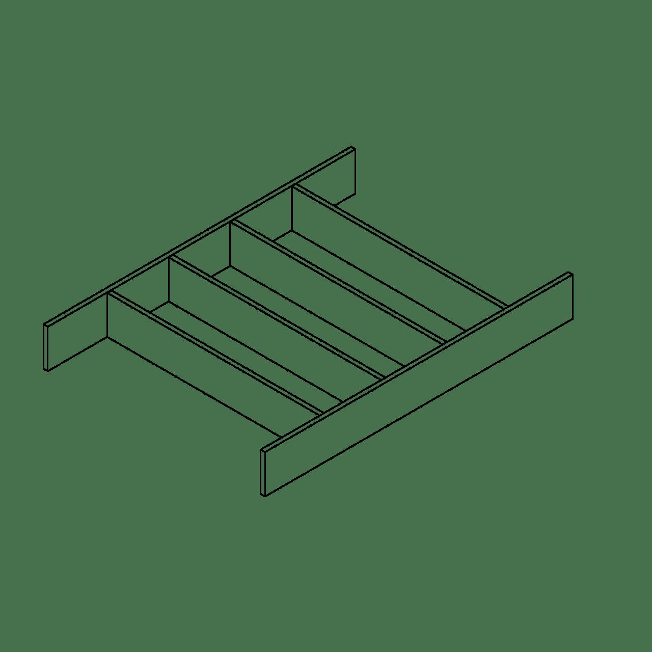 Besteckeinsatz für Systemtiefe 45 cm