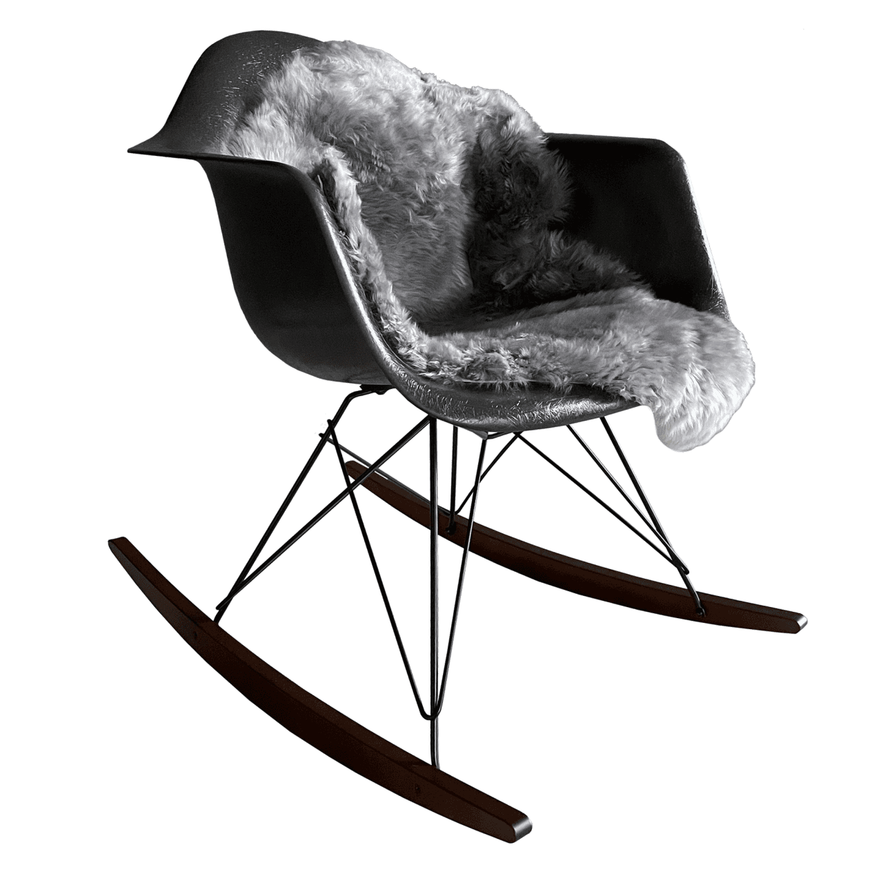 Eames Fiberglass RAR mit Lammfell