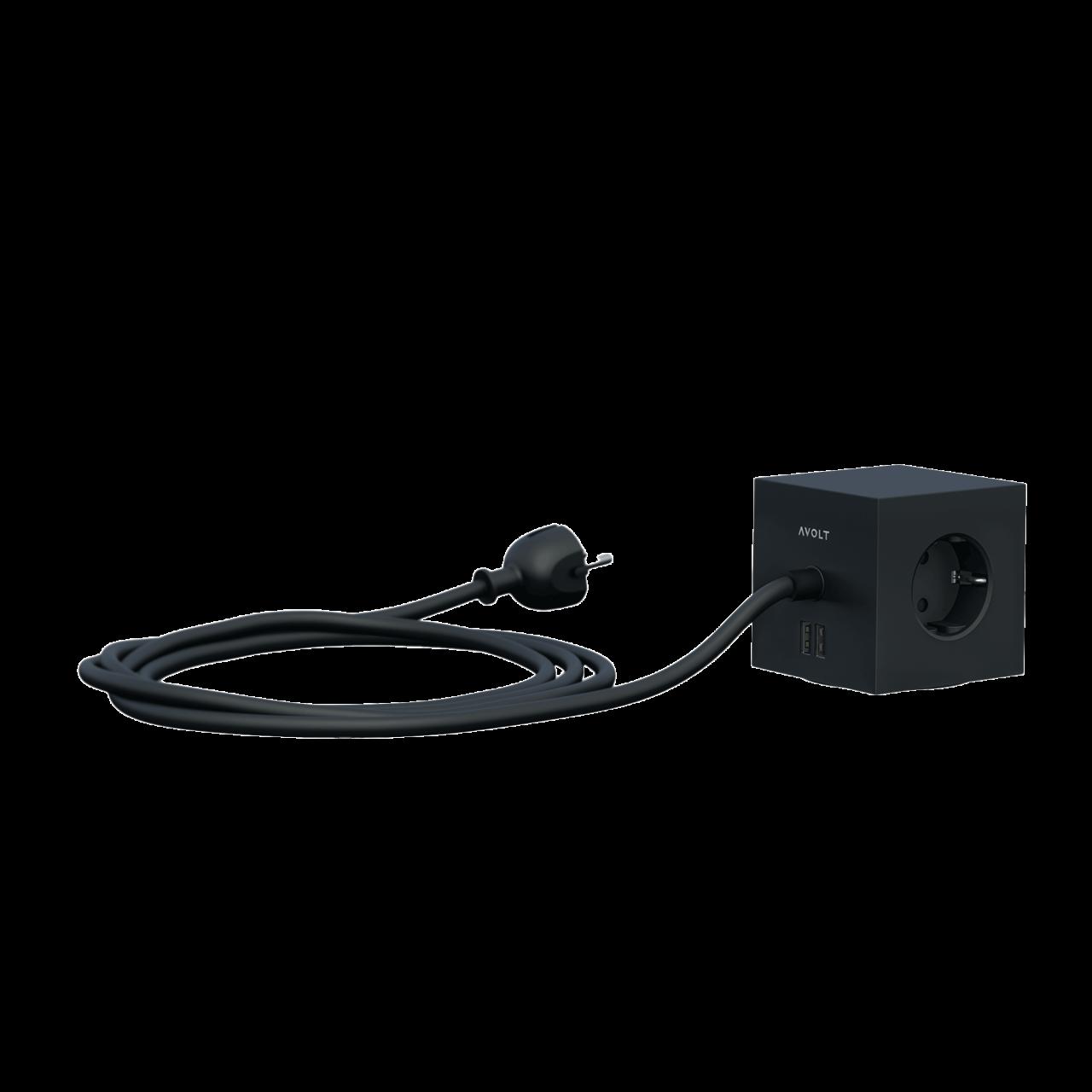 Square 1 USB+Schuko Mehrfachsteckdose