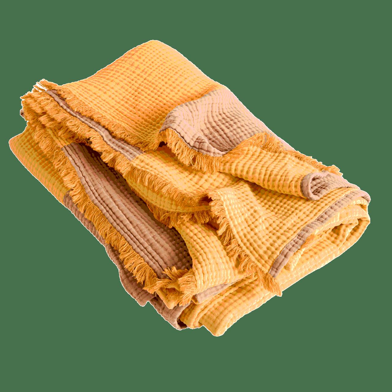 Crinkle Stripe Plaid Decke